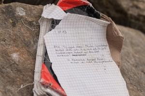 Gipfelbucheintrag für Zurückgelassene